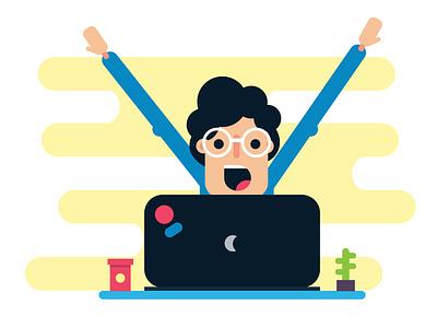 Happy Developer laptop happy people happy face info graphic vector ai typography adobe illustrator illustration design