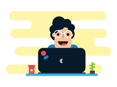 Developer coding computer developer people laptop design info graphic adobe illustrator illustration