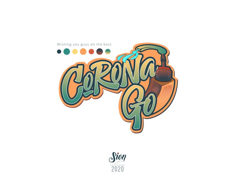 Corona Go siontypography coronavirus calligraphy typography