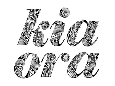 Kia Ora from New Zealand type logo newzealand debut handlettering lettering illustration typography hello