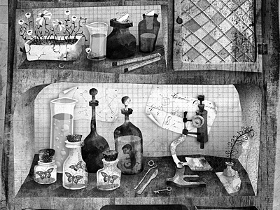 Cellar of Science water color mutt ink illustration bw