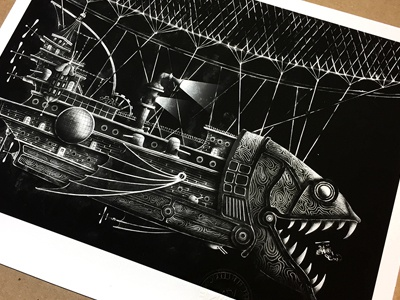 Flying Fish Vessel Print drawing steam punk black and white book childrens book illustration print