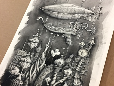 Ophir City Print drawing watercolor book childrens book steam punk illustration print