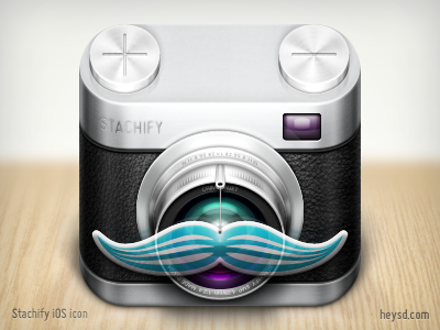 Stachify icon  icon photoshop david im apple ios iphone hd retina iphone 4 leather camera mustache stachify crimsonjet