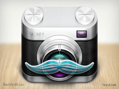 Stachify icon  icon photoshop david im apple ios iphone hd retina iphone 4 leather camera mustache stachify crimsonjet