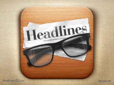 Headlines Reader iOS icon icon photoshop david im apple ios ipad hd retina glasses headlines reader flat cap apps heysd