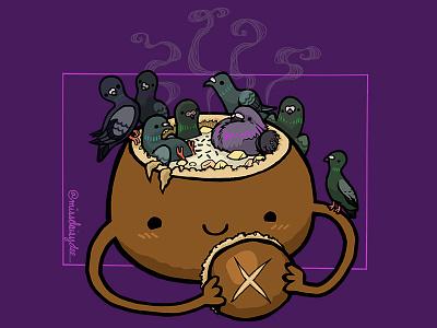 Carnivorous Food Series - Clam Chowder Breadbowl cartoon pigeon missdaisydee food clam chowder animal illustration san francisco procreate