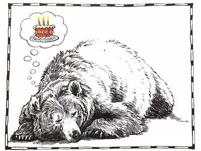 Happy Bearthday digital ink photoshop present card chrisrhee birthday cake animal illustration bear grizzly
