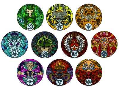 Stained Glass Sages stained glass wind waker nintendo ganon illustration photoshop sages zelda