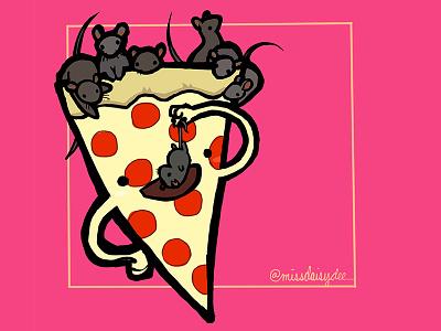 Carnivorous Foods Series - Pizza pepperoni pink new york rat pizza procreate food illustration