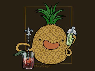 Carnivorous Foods Series - Pineapple fleur de lis tales of the cocktail totc new orleans cocktail alligator pineapple procreate food illustration