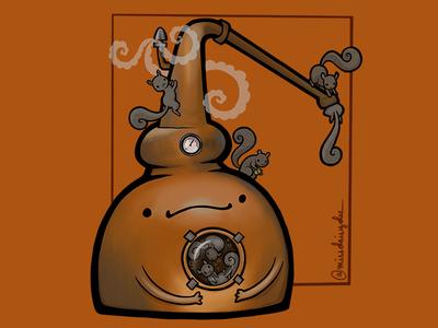 Carnivorous Foods Series - Pot Still kentucky lushlife bourbon whiskey copper potstill squirrel camp runamok procreate food illustration
