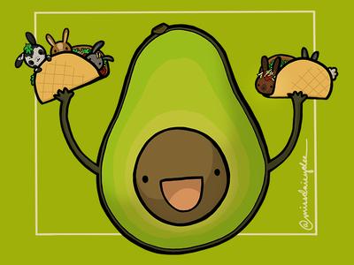 Carnivorous Foods Series - Avocado teamtaco san antonio cocktail carnivorous food cartoon bunny rabbit taco avocado procreate food illustration
