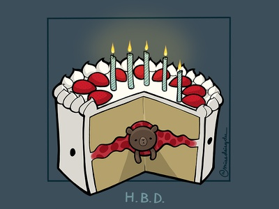 Carnivorous Foods Series - Strawbeary Shortcake strawberry cake birthday cartoon procreate photoshop digital grizzly bear animal illustration