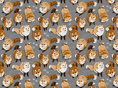 Fox Village Pattern fox village japan graphic photoshop fashion copper grey vulpis endless pattern pattern illustration fox