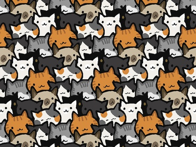 Cat Crowd amaziograph siamese black tabby orange grey pattern cute kitten cat