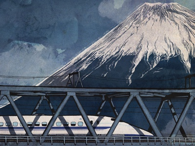Bullet Train and Mount Fuji photoshop procreate rail train transportation snowcaps japan mt fuji bullet train transit tokyo