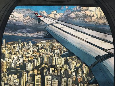 Beirut Rafic Hariri International Airport transit flight arial view airplane photoshop procreate illustration beirut