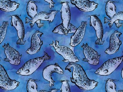 Harbor Seals Pattern sea life blue pinnipeds redbubble seals pattern animal ink illustration