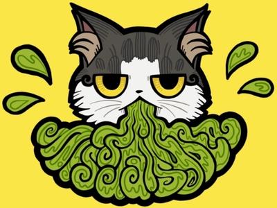 Cat Puke Logo street art lettering vomit puke cat logo cat illustration cat drawing vector trinket cat missdaisydee design logo animal procreate