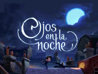 Ojos en la noche - Lettering design cover book illustration graphic novel childrens book title lettering