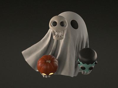 Beastie Boys character halloween cartoon skull frankenstein pumpkin ghost animated illustration 3d c4d animation cinema4d