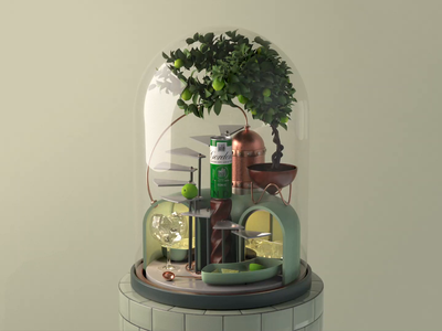 001 // Gordon's Perfectly Mixed musicbox snowglobe terrarium tonic gin can distillery lime tree drink cocktail bar loop animated 3d c4d animation cinema4d
