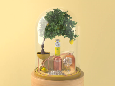 003 // Gordon's Perfectly Mixed lemon can musicbox clockwork snowglobe terrarium bonsai tree tonic gin loop animated 3d c4d animation cinema4d