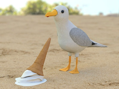 Beach thugs vacation mograph illustration holiday gull cinema4d c4d beach animation 3d seagull ice cream