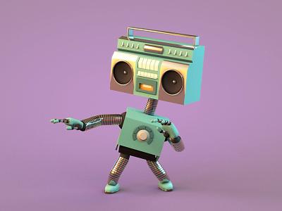 The distant future...🤖 boombox 3d dance cinema4d c4d character mixtape tape retro robot