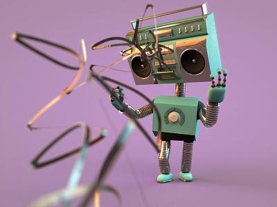 Play hard. boombox 3d vomit sick cinema4d c4d character mixtape tape retro robot