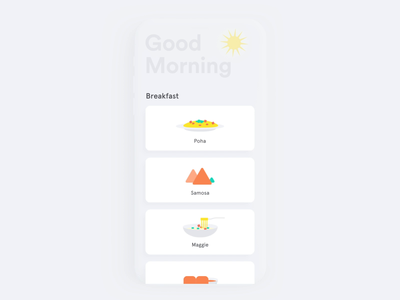 Microinteraction Labs card popup cta breakfast ui flat simple minimal
