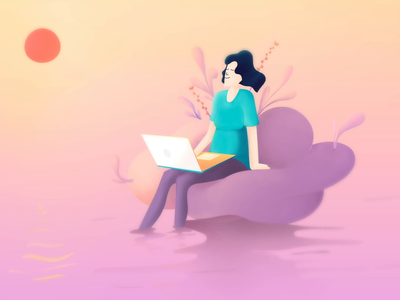 Mindfulness at work serenity gradient calming meditate office blog illustration illustrator photoshop calm process