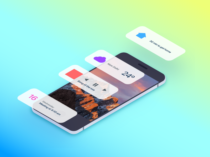 iOS Widgets 3d gradient ssr orthographic isometric ios widget