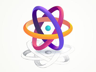 Education Technology gradient science 3d geometric logo icon education illustration nucleus base chemistry atom