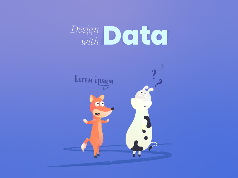 Design with data fox confused thinking lorem ipsum cow principle data book character digital storytelling gradient illustration