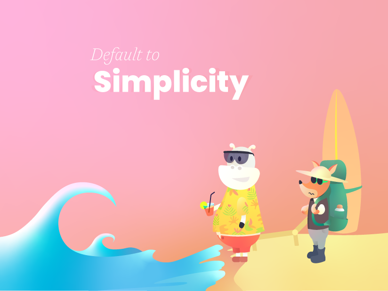 Default to simplicity digital principle book chill character gradient beach ocean wave clutter easy fox cow illustration