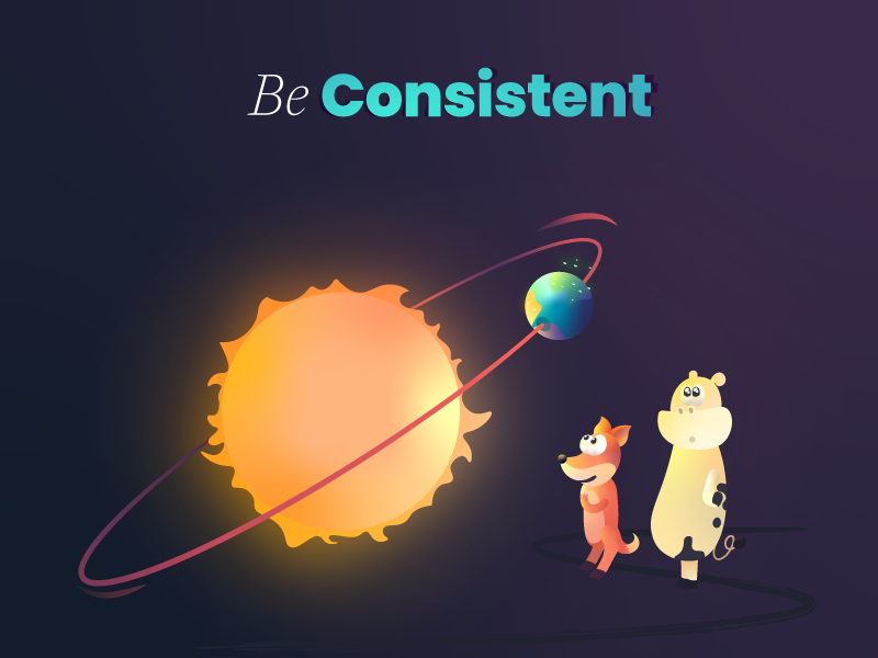 Be consistent curious fox cow planet earth stable sun star book storytelling gradient illustration