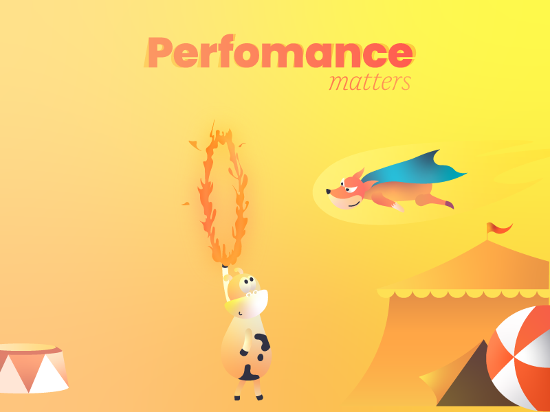 Performance matters gradient illustration storytelling book cannon ricochet fox cow circus ring fire product digital speed
