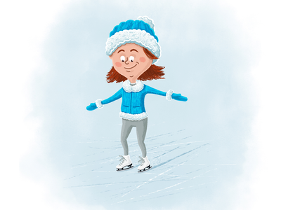 Getting Her Bearings character character design picture book kid kids children childrens book childrens books skating figure skating ice skates ice skating