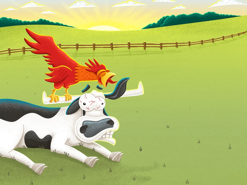 Rise and Shine! children art illustration children children books illustration for kids childrens illustration children book illustration character children book childrens book picture book childrens lit childrens kids lit cow bull morning farm chicken rooster