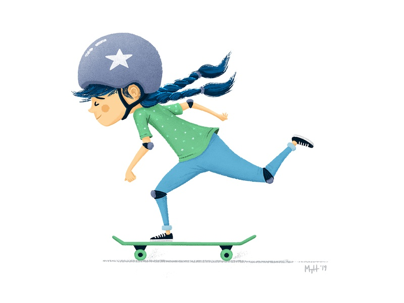 Kids On Wheels no. 03: Helmet Hair skate board skater kidlitart kidlit skateboarder skateboard skating girl childrens books children books children art children childrens illustration children book illustration children book illustration childrens book character picture book