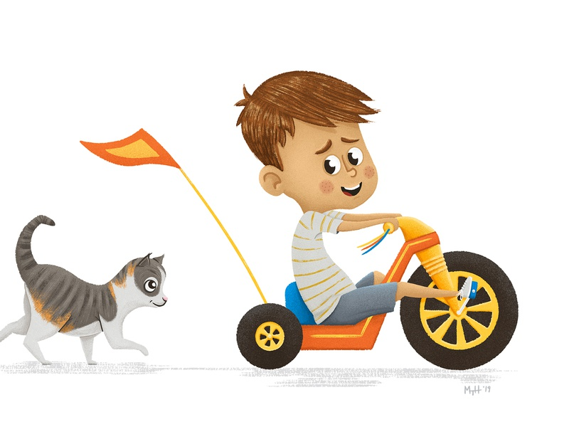 Leader of the Pack 01 kids kid chasing big wheels big wheel cat boy childrens lit childrens books children books children art children childrens illustration children book illustration children book childrens book illustration character picture book