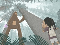 Chance Encounter pine forest hiking girl bigfoot big foot picturebook kids illustration kidlitart kidlit children books children art children childrens illustration children book illustration children book childrens book illustration character picture book