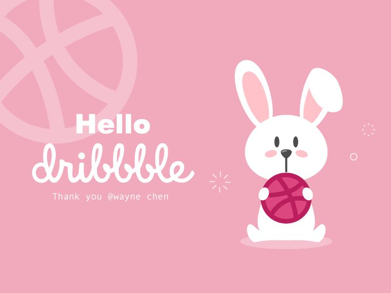 Hello Dribbble! cute pink rabbit illustrator first shot invite invitation