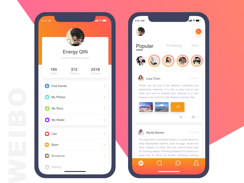 Weibo UI Redesign iphonex uikit ios weibo design app