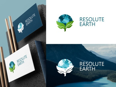Resolute Earth watercolour activism business logo environmental brand consulting logo corporate identity design brand identity logo branding