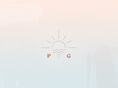 PG sun mark icon minimal logo branding illustration vector blush island beach logomark brandmark monogram waves sunshine sun