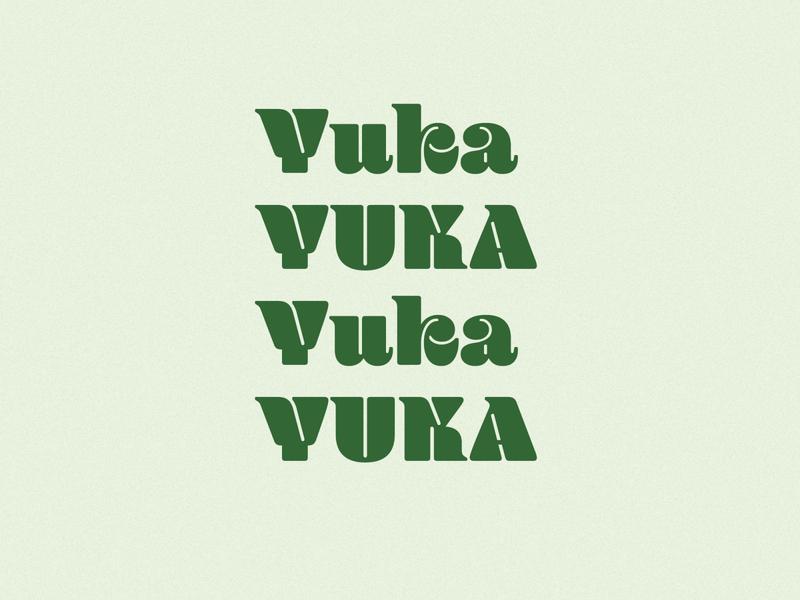 funky yuka type green logo print branding design label typography type chunky