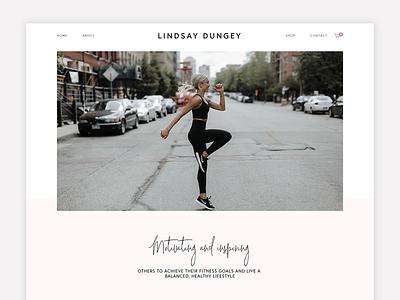 Lindsay Dungey Fitness Website lifestyle blog ebook store online shop clean website design blush typography balance healthy lifestyle ui design squarespace lifestyle website minimal fitness